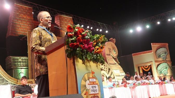 Duta Besar Republik Indonesia untuk India, Sidharto Suryodipuro memberi sambutan pada Festival Bali Yatra 2019 di Odisha, India (14/11/2019) (Liputan6.com/Facebook)
