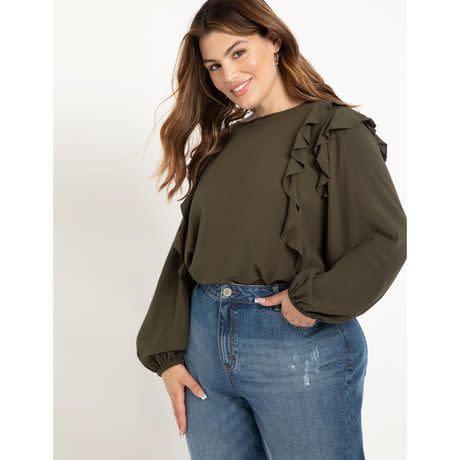ELOQUII Elements Women's Plus Size Ruffle Detail Blouse (Photo via Walmart)