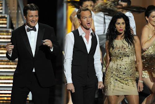 Nathan Fillion, from left, Neil Patrick Harris, and Sarah Silverman perform on stage at the 65th Primetime Emmy Awards at Nokia Theatre on Sunday Sept. 22, 2013, in Los Angeles. (Photo by Chris Pizzello/Invision/AP)