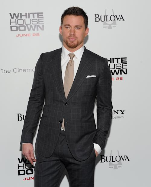 """Actor Channing Tatum attends the """"White House Down"""" premiere at the Ziegfeld Theatre on Tuesday, June 25, 2013 in New York. (Photo by Evan Agostini/Invision/AP)"""