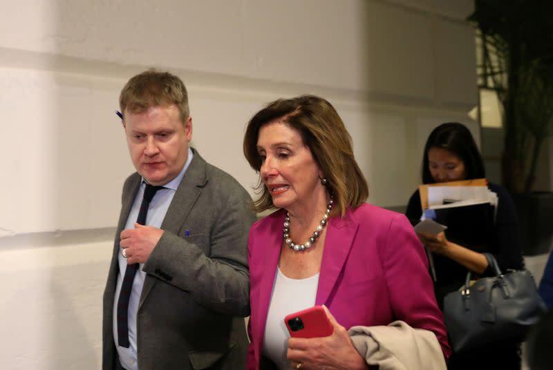 U.S. House Speaker Nancy Pelosi leaves a house democratic leadership meeting on Capitol Hill