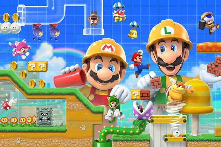 Mario and Luigi build in Super Mario Maker 2