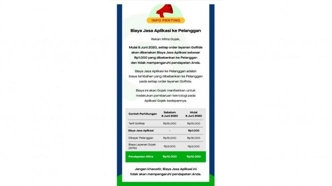 Informasi tambahan biaya layanan Gojek