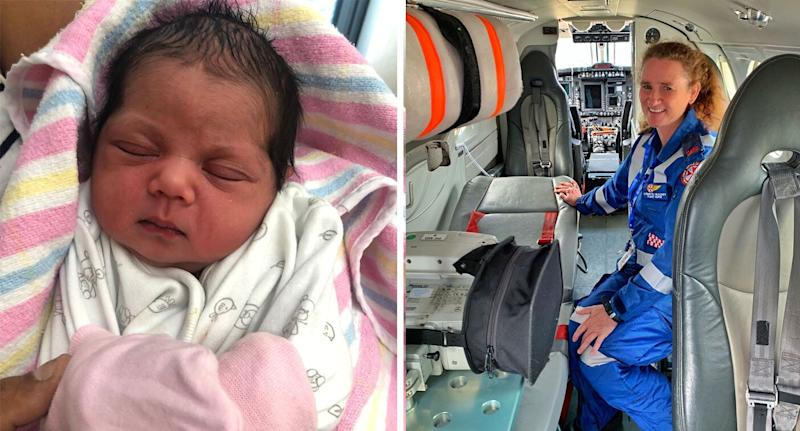 Flight nurse Lynnette helped deliver baby Ameiliah, who couldn't wait and was born on board the aircraft, without complications. Source: NSW Ambulance