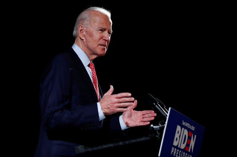 FILE PHOTO: Democratic U.S. presidential candidate and former Vice President Joe Biden speaks about the COVID-19 coronavirus pandemic at an event in Wilmington