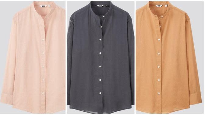 W Sheer Band Collar LS Shirt Uniqlo U Fall/Winter 2020. (dok. UNIQLO)