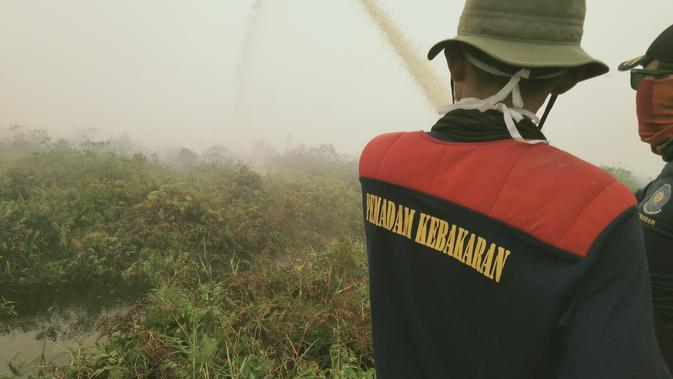 Petugas pemadam Karhutla berjibaku memadamkan Karhutla di lahan gambut Kabupaten Tanjung Jabung Timur. (Liputan6.com/Gresi Plasmanto)