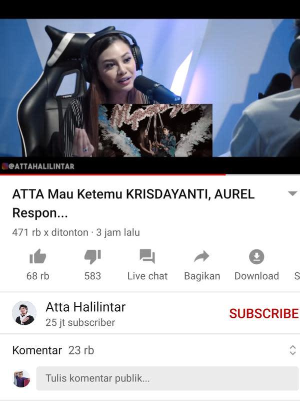 Unggahan Atta Halilintar. (Foto: YouTube Atta Halilintar)