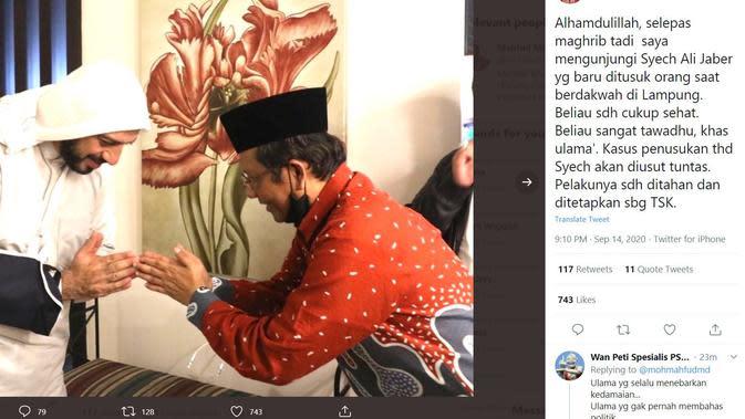 Dijenguk Mahfud Md, Syekh Ali Jaber Titip Salam ke Jokowi