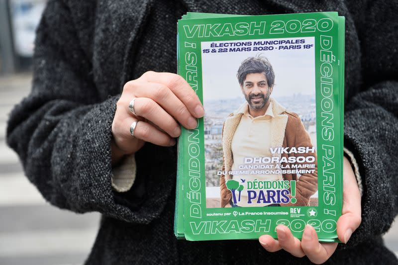 Vikash Dhorasso, former international soccer player and La France Insoumise (LFI) mayor candidate for Paris' 18th district, campaigns in Paris