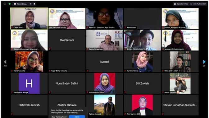 Dokumentasi Seminar Nasional Online 'Dampak Pandemi Covid-19 Terhadap Minat Masyarakat Dalam Berwisata Dan Sosialisasi Penerapan Protokol New Normal Saat Berwisata.