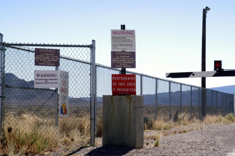 Photo shows guard gate at Area 51 near Rachel, Nevada in the USA.