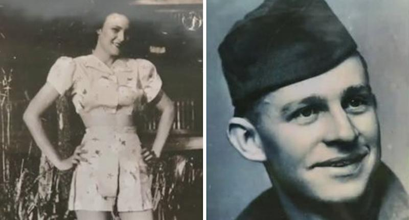 Pictures from the 1940s of American WWII vet KT Robbins and French sweetheart Jeannine Ganaye.