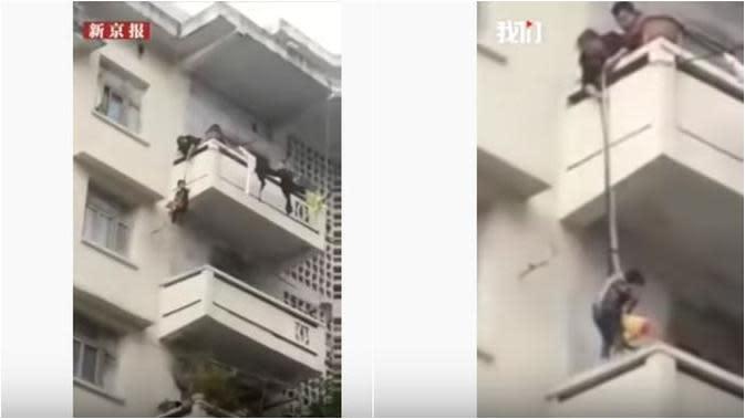 Seorang nenek di China nekat gantung cucunya untuk menyelamatkan seekor kucing (Dok.YouTube/bunlida yos)