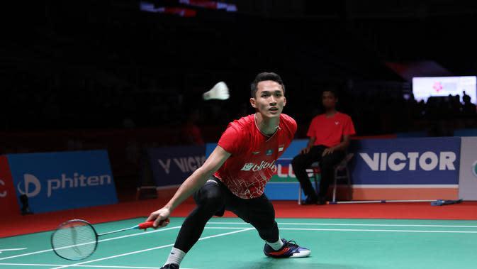 Penampilan tunggal putra Indonesia Jonatan Christie pada Malaysia Masters 2020 di Axiata Arena, Kuala Lumpur, Malaysia, Rabu (8/1/2020). (foto: PBSI)