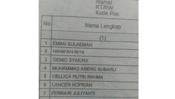 Nama Unik di Kartu Keluarga (Sumber:Liputan6)