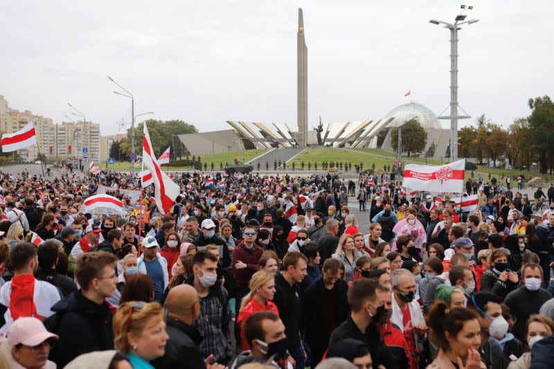 Tens of thousands rally against Belarus president in 'people's inauguration'