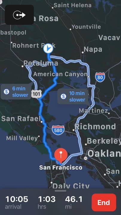 Apple Maps ETA dark mode