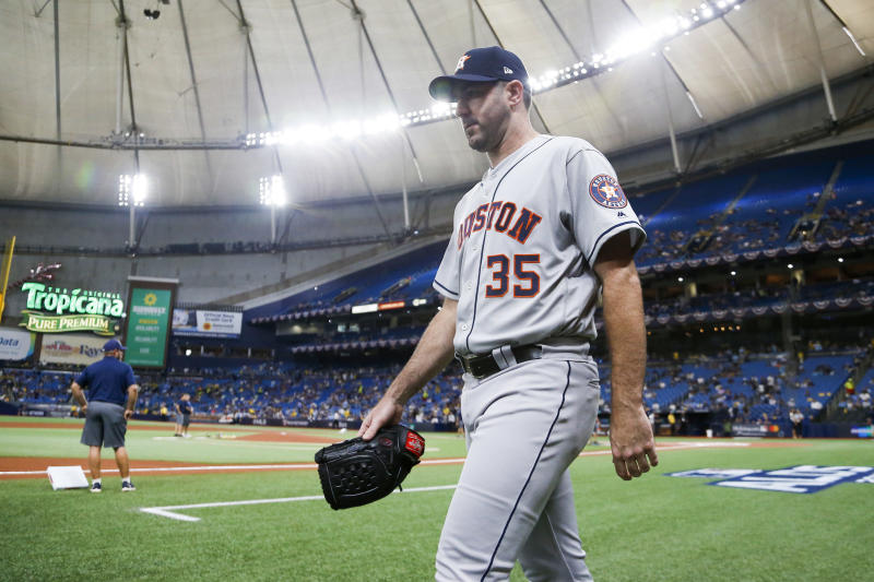 Oct 8, 2019; St. Petersburg, FL, USA; Houston Astros starting pitcher Justin Verlander (35) walks on the field during batting practice before game four of the 2019 ALDS playoff baseball series against the Tampa Bay Rays at Tropicana Field. Mandatory Credit: Reinhold Matay-USA TODAY Sports