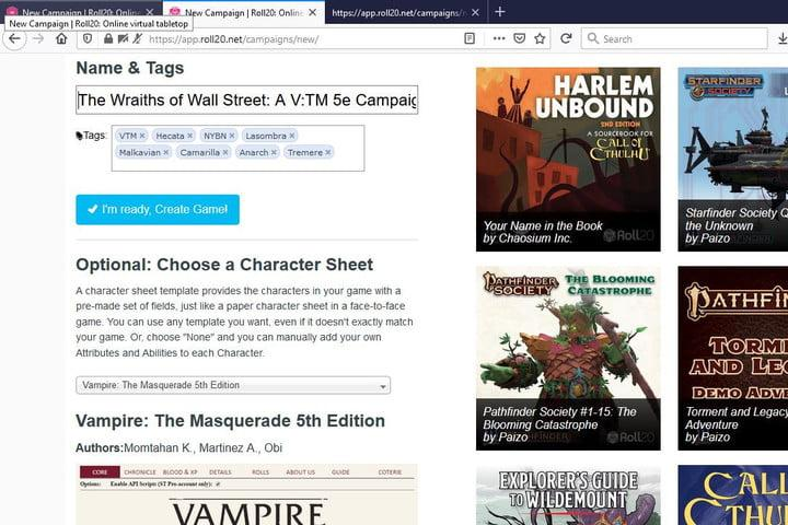 Images of Roll20 VTM Campaign Page