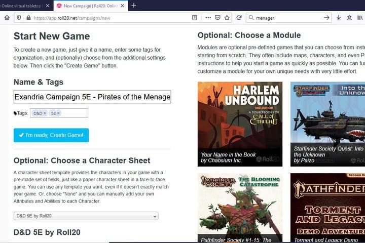 Image of Roll20 Start New Game Page