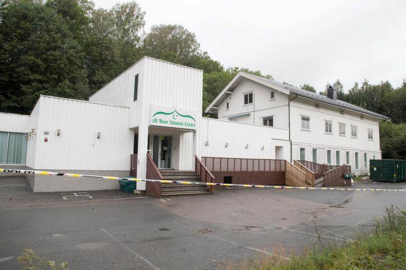 The Al-Noor islamic center mosque is photographed on August 11, 2019 in Baerum near Oslo, one day after a gunman armed with multiple weapons had opened fire in the mosque.