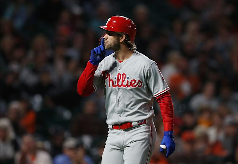 SAN FRANCISCO, CALIFORNIA - AUGUST 09: Bryce Harper #3 of the Philadelphia Phillies gestures to the fans after hitting a solo home run in the top of the fifth inning against the San Francisco Giants at Oracle Park on August 09, 2019 in San Francisco, California. (Photo by Lachlan Cunningham/Getty Images)