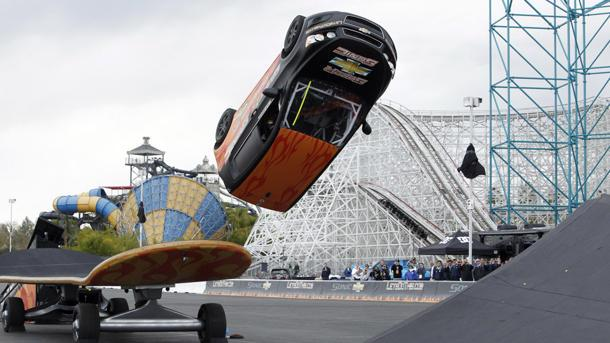 See a Chevy Sonic kick-flipped over a giant skateboard