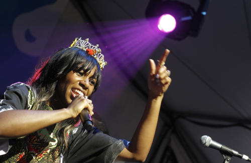 Santigold performs at the Fader Fort presented by Converse day party during the SXSW Music Festival in Austin, Texas on Wednesday, March 14, 2012.(AP Photo/Jack Plunkett)