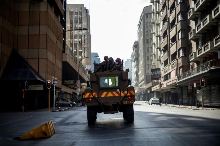 Empty streets: A troop carrier in central Johannesburg