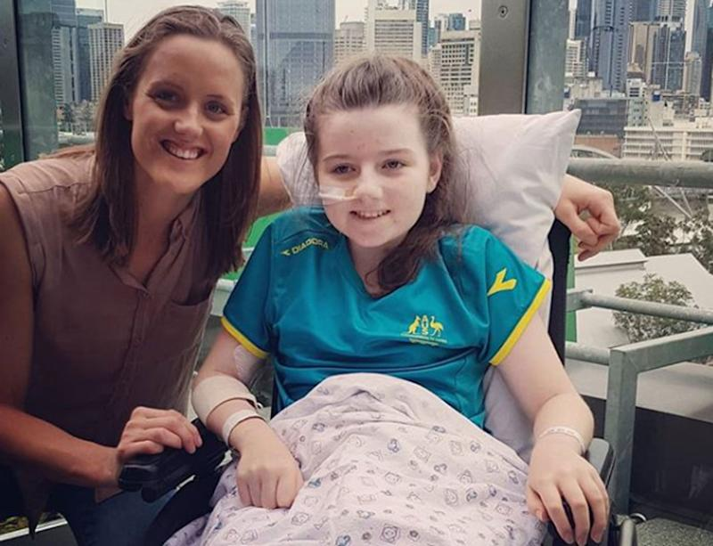 Melbourne girl Hannah Papps, 12, lost her leg after a shark attack in Cid Harbour in the Whitsundays. She is pictured here with Paralympian Ellie Cole.