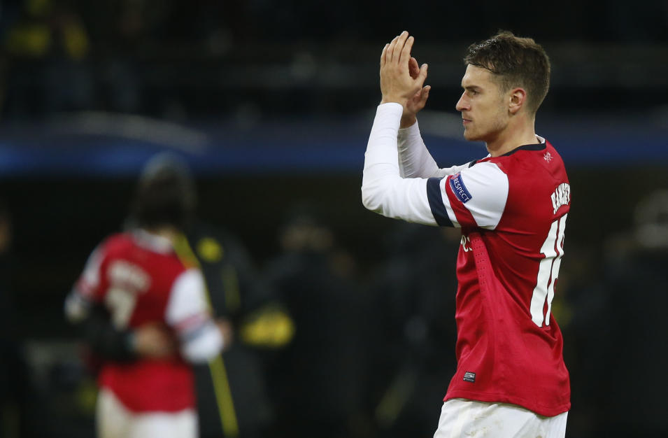 Arsenal's Ramsey celebrates after defeating Borussia Dortmund in Champions League soccer match in Dortmund