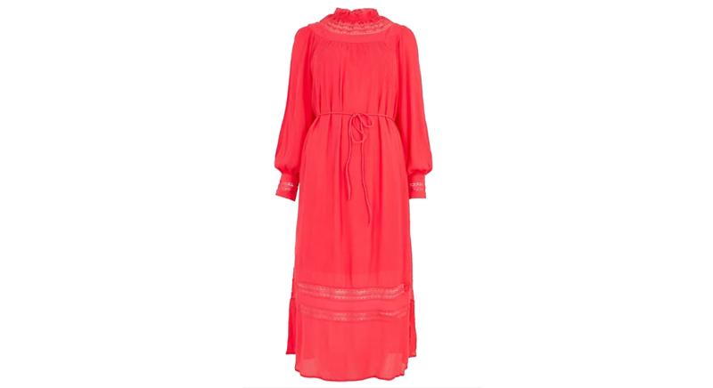 PER UNA Lace Insert High Neck Waisted Dress