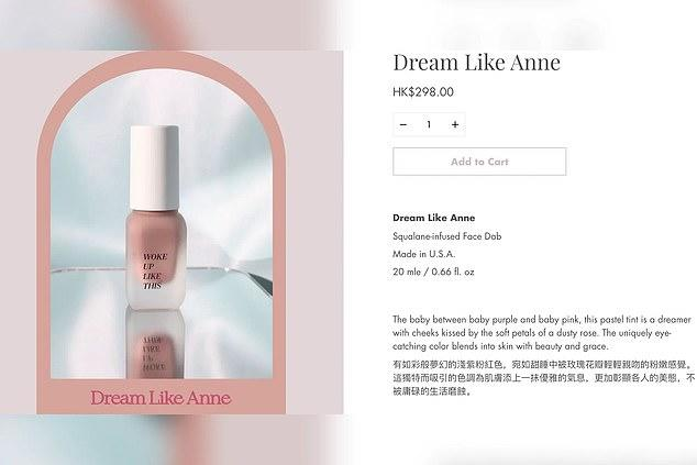 Woke Up Like This Beauty has received criticism for creating a shade of liquid blush named after Holocaust victim Anne Frank. (Image via Twitter).
