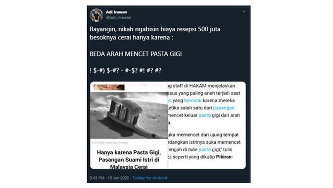Cuitan Kocak Saat Bayangin 'Nikah 500 Juta' Ini Sukses Bikin Cengar Cengir (sumber:Twitter/@adii_iirawan)