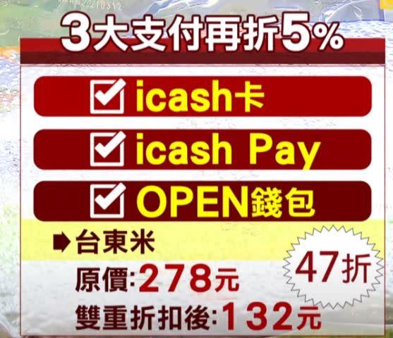 超商限定拿icash卡、icash Pay和OPEN錢包支付,優惠後的價格會再殺95折。(圖/東森新聞資料畫面)
