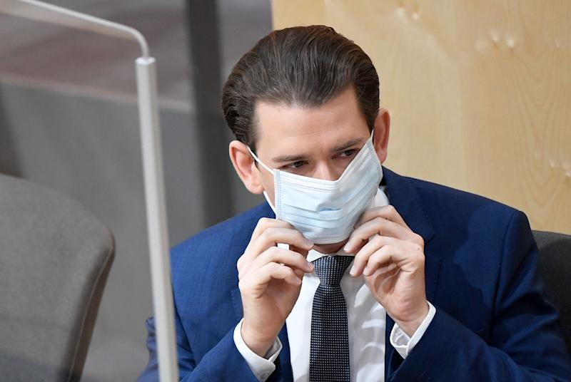 Austria's Chancellor Sebastian Kurz wears a protective mask as he arrives to a special session of the National Council on the 3rd 'Corona Law Package' amidst the novel coronavirus COVID-19 pandemic on April 3, 2020 at the parliament's emergency quarters in Vienna's Hofburg palace. (Photo by ROBERT JÄGER / APA / AFP) / Austria OUT (Photo by ROBERT JAGER/APA/AFP via Getty Images)