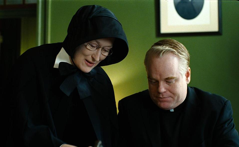 """FILE - In this undated file image released by Miramax Film Corp., Philip Seymour Hoffman portrays Father Flynn, right, and Meryl Streep portrays Sister Aloysius in a scene from """"Doubt."""" Police say Hoffman was found dead in his New York City apartment Sunday, Feb. 2, 2014. He was 46. (AP Photo/Miramax Film Corp, Andrew Schwartz, File)"""