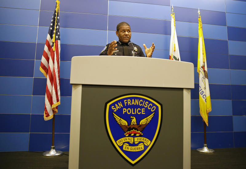 FILE - In this May 21, 2019, file photo, San Francisco Police Chief William Scott answers questions during a news conference in San Francisco. San Francisco police will stop responding to neighbor disputes, reports on homeless people, school discipline interventions and other non-criminal activities as part of a police reform plan announced Thursday, June 11, 2020. Mayor London Breed's said officers would be replaced on non-violent calls by trained and non-armed professionals to limit unnecessary confrontation between the police department and the community. (AP Photo/Eric Risberg, File)