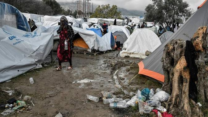 Kemelaratan perkemahan migran di pulau Chios, Yunani. (AFP/ Louisa Gouliamaki)