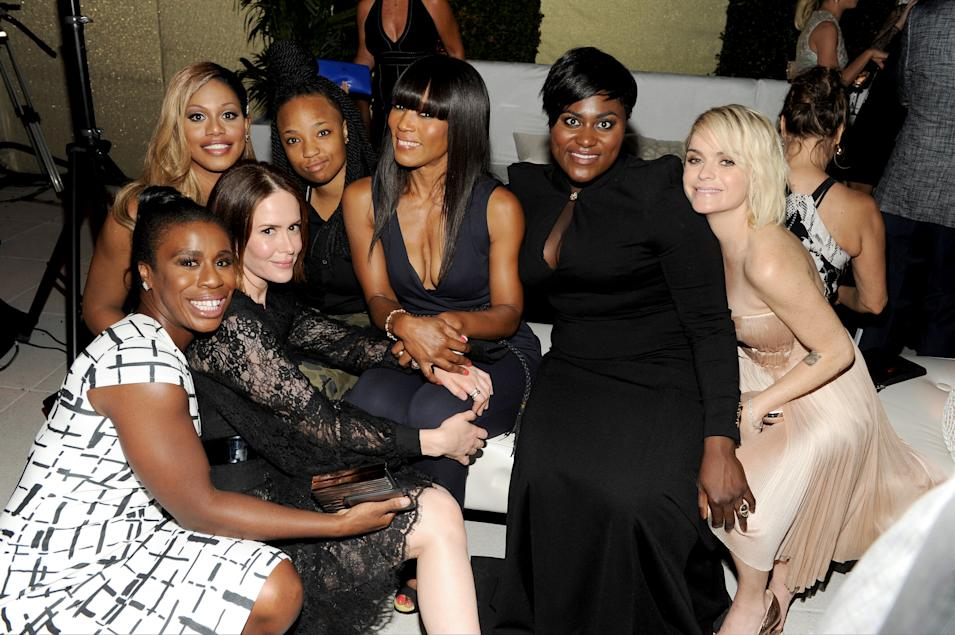 "IMAGE DISTRIBUTED FOR THE TELEVISION ACADEMY - The cast of ""Orange Is The New Black"" with nominees Sarah Paulson, second from left, and Angela Bassett, fifth from left, attend the Television Academy's 66th Emmy Awards Performance Nominee Reception at the Pacific Design Center on Saturday, Aug. 23, 2014, in West Hollywood, Calif. (Photo by Frank Micelotta/Invision for the Television Academy/AP Images)"