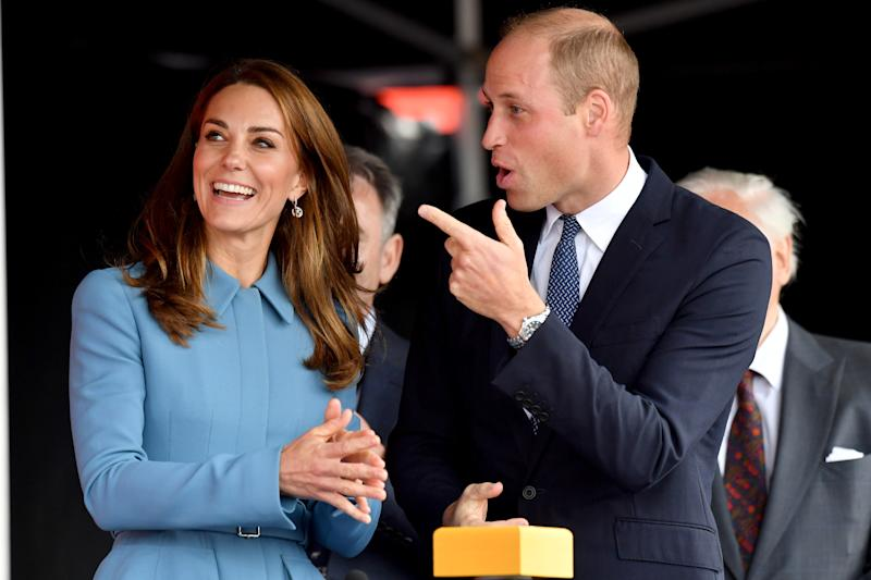 Prince William and Kate Middleton attend the naming ceremony for The RSS Sir David Attenborough on September 26, 2019 in Birkenhead, England.