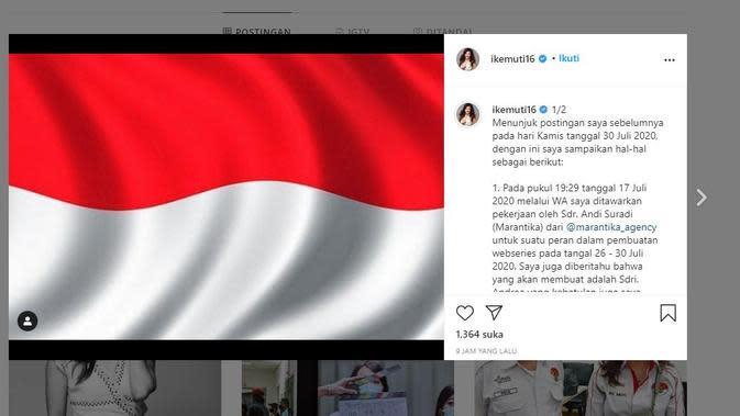 Artis Ike Muti membuat unggahan terkait dirinya yang diajak bekerjasama dengan Pemprov DKI dan menjadi viral. (Instagram @ikemuti16)