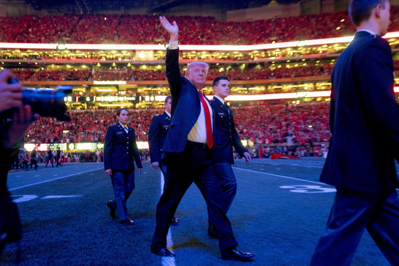 President Donald Trump walks off the field following the national anthem before the start of the CFP title game on Jan. 8, 2018, between Georgia and Alabama. (AP)