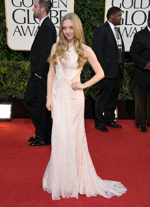 Actress Amanda Seyfried arrives at the 70th Annual Golden Globe Awards at the Beverly Hilton Hotel on Sunday Jan. 13, 2013, in Beverly Hills, Calif. (Photo by John Shearer/Invision/AP)