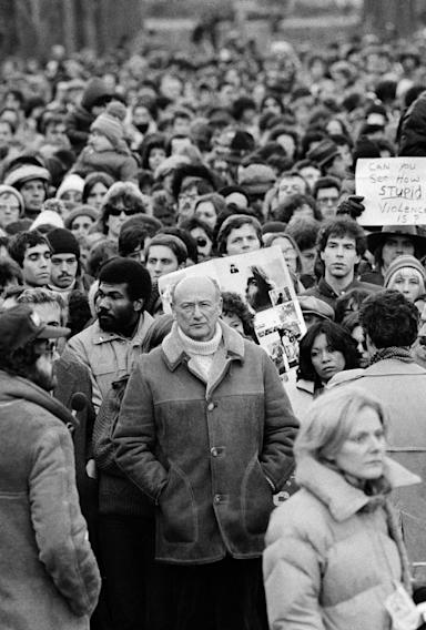 FILE - In this Dec. 14, 1980, file photo, New York Mayor Ed Koch stands among Beatles' fans paying tribute to the late John Lennon during a silent vigil that was called by Mayor Koch in New York's Central Park. Koch, the combative politician who rescued the city from near-financial ruin during three City Hall terms, has died at age 88. Spokesman George Arzt says Koch died Friday morning Feb. 1, 2013 of congestive heart failure.(AP Photo/Rene Perez, File)