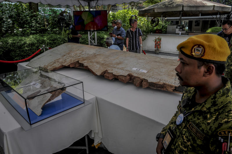 A piece of debris from flight MH370 is displayed during the remembrance ceremony to mark the 5th anniversary of the plane's disappearance in Kuala Lumpur March 3, 2019. — Picture by Firdaus Latif