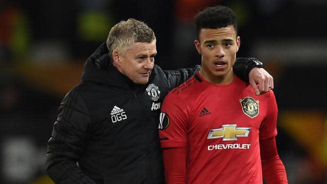 Pelatih Manchester United, Ole Gunnar Solskjaer, percaya jika Mason Greenwood bisa menyamai kehebatan Wayne Rooney sebagai pemain di masa mendatang. (AFP/