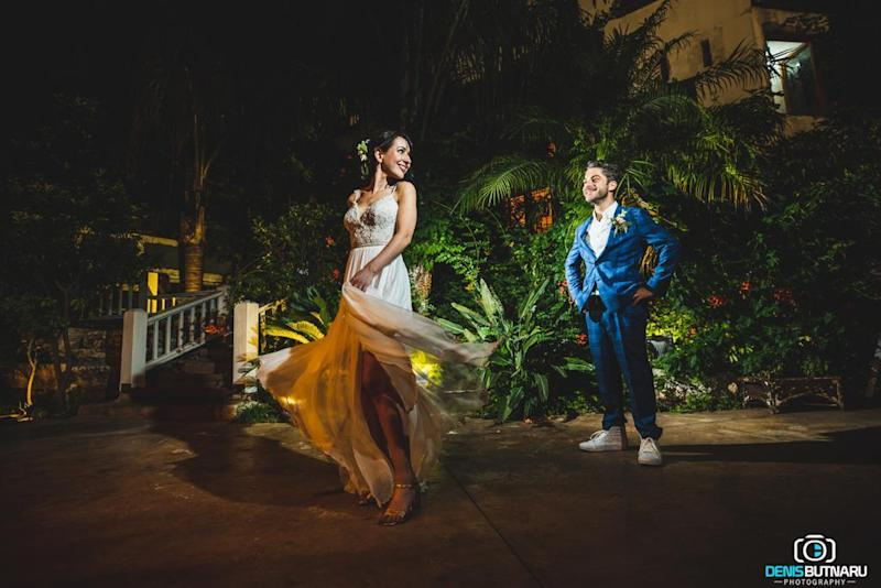 """""""It was out dream to get married under the stars,"""" said Cara Lever. [Photo: Denis Butnaru Photography]"""