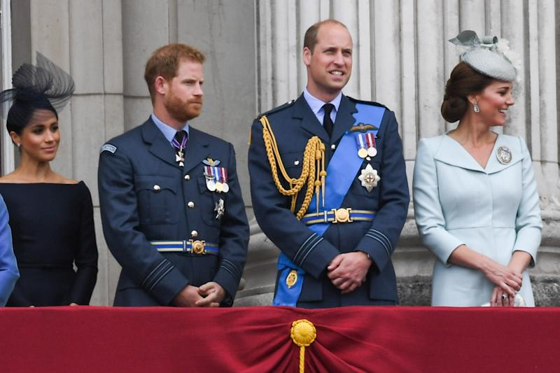 Meghan Markle Prince Harry Prince William and Kate Middleton stand on the Buckingham Palace balcony